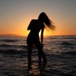 Melena en la puesta de sol