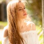 Sol en el pelo rubio