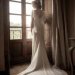 Vestido de novia de bouret con cola