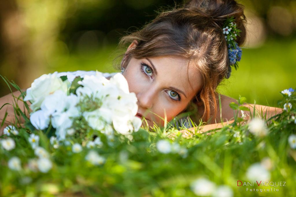 Ramo de novia y ojos verdes