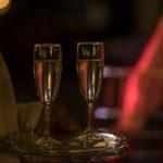 Copas de champán para el brindis de los novios