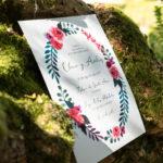 Invitación con detalles florales en Coruña